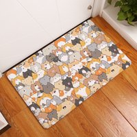 Plush Fabric Loop Pile Bathroom Durable Entrance Door Mats Funny Lovely  Cartoon Dog Cat Pattern Rugs