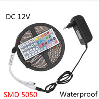 Wholesale Tiras Led Neon - SMD 5050 DC12V Waterproof 300LEDs 5M LED Strip Light Tiras RGB LED Tape Flexible Neon Bar Ribbon add 3A Power and 44Key