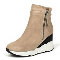 Ladies Real Leather High Heel Ankle Boots Woemn Wedges Zipper Round Toe Shoes Feminino Outono Inverno Leisure Footwear Tamanho 34-39