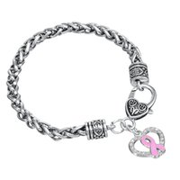 Wholesale Antique White Ribbon - Popular Style Antique Silver Plated Hollow Heart Shape Pink Ribbon Pendant Bracelet Jewelry
