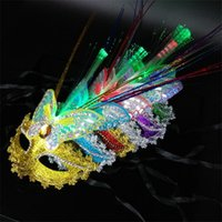 Wholesale Wholesale Carnival Party - New LED Party Mask Enchanting LED Mask LED Glowing Masquerade Mask Carnival Stage Masks Women Delicated Party Dress Dancing Birthday Masks