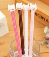 Wholesale Lovely Kitty Cat - 12pcs lot Slim Cat Gel Pens Hello Kitty Pen Fashion Lovely Pen Ink Pencil Air Max Penna Gel Pluma Del Gel