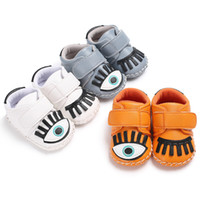 Wholesale Bling Eyes - Fashion PU Leather Baby Moccasins Shoes big eyes toddler boys girls Shoes Newborn first walker sneaker soft rubber soled