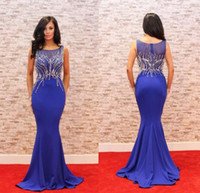 Wholesale Heavy Embroidery Dresses - 2017 Royal Blue Sexy Plus Size Prom Dresses Heavy Beading Mermaid Red Carpet 2017 Satin Floor Length Formal Evening Dresses