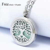 Wholesale Aroma Pendant Necklace Wholesale - 2017 New Tree of Life 25 30mm Magnet Diffuser 316 Stainless Steel Aroma Essential Oil Diffuser Lockets Pendant Necklaces