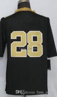 Wholesale Blank Black Football Jersey - Men Game Style Stitched Salnts Blank #9 BREES #13 THOMAS #28 PETERSON White Black football jerseys