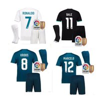 Wholesale Embroidery Men Wear - 17 18 Real madrid kit soccer Jerseys 2017 2018 Benzema Ronaldo MODRIC ISCO BALE SERGIO RAMOS embroidery Football wear