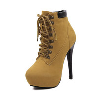 Wholesale Platform Heel Boots Ankle - Wholesale- Winter Shoes Women's High Heel Almond Toe Lace Up Ankle Booties Party Night Club Pumps Classic Platform Martin Boots WSH796
