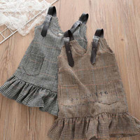 Wholesale Girl Sundress Jumper Skirt - Autumn Winter New 2017 Pu leather Pleated Girls Dresses Plaid jumper skirt kids sundress Fashion Casual Dresses Girls Kids Clothes A973