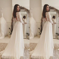 Wholesale Deep Neck Shirts - 2017 Simple Elegant Bohemian Wedding Dresses Deep V Neck Lace Long Sleeves Chiffon Floor Length Beach Backless Bridal Gowns