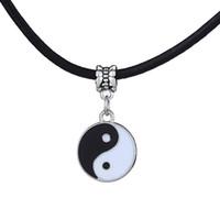 Wholesale Yin Yang Pendants - Wholesale-Vintage Stainless Steel Yin Ying Yang Pendant Necklace Black White Necklace Men PU Leather Necklaces Jewelry