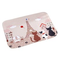Grossiste-2016 Nice Kitty cat Tour Eiffel tapis de la salle de bains tapis antidérapant de style cartoon intérieur en plein air doormat porte mat drop shipping