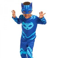 Wholesale Catsuit Full Masks - Pj Kids Masks Costume Catboy Owlette Gekko Cape With Masks Wristband Cape Carnaval Costumes For Kids Toys Free shipping
