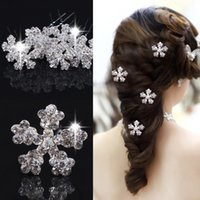 Wholesale Prom Hair Pins - 12pcs Beautiful Snowflake bride Hair Pins Elsa Wig Costume Wedding Prom Crystal Clip hairpins Hair accessories jewelry