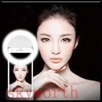 Wholesale Tablet Flash Light - Fashion Rechargeable Night Selfie Luminous Ring Phone Mount Flash Light Up For Iphone 7 Samrtphones Ipad Tablet Color boxes packing