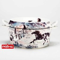 Wholesale Prime Enameled Cast Iron Covered Dutch Oven Casserole White Color Painting Enamel Cookware Round Doufeu Cooking Dish The ten horses