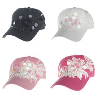 Wholesale Pearls Baseball Cap - pearl & Flowers Embroidered Women Baseball Cap Sun Hat girls Lady's Fashion Outdoor Sports Baseball Cap 4 colors