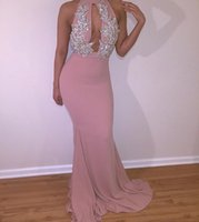 Wholesale Black Pink White Evening Gowns - Prom Dresses Mermaid Long Evening Gowns 2017 Sexy Long Black Girl Elegant High Neck White Lace Pink Prom Dress