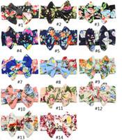 diademas de flores grandes para las niñas al por mayor-14 Grandes de color correa del arco de la impresión niños niños bebé vendas de la flor 2019 nueva Bohemia accesorios del pelo del abrigo de la cabeza de chicas niños