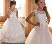 Wholesale Dress Short Tulle Puffy - Pretty Princess Lace Flower Girls Dresses Ruffles Puffy Tulle Lace Capped Sleeves First Communion Pageant Gowns for Kids 2017 Custom Made