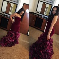 Wholesale Silver Voile Lace - New Burgundy Mermaid Prom Dresses Rose Floral Flowers Tiered Voile Sweetheart Lace Up Back Velvet Formal Party Gowns Evening Dress