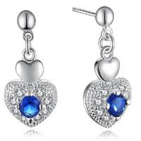 Wholesale Swarovski Elements Hearts - 925 Sterling Silver Plated Cute Heart Stud Earring DHL Love Wedding Blue Swarovski Elements Austrian Crystal Stone Earring Jewelry for Girls