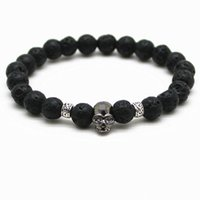 Black Beads Natural Stones Skull Bracelet For Women Lava Stone Beads Men Pulseira Black Lava Beads Pulseiras Pulseras Mujer