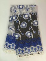 Wholesale Embroidered Cotton Voile Fabric - New Arrival high quality African cord lace fabrics Swiss voile Embroidered Guipure Fabric For sequined 2016 Wedding Dress Y