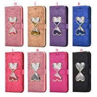 Wholesale Bling Glasses Case - Liquid Sand Glass Red Wine Cup Wallet Leather Case For Iphone 7 Plus 6 6S SE 5 5S Galaxy S8 Quicksand Bling Flow Star Stand Pouch TPU Cover