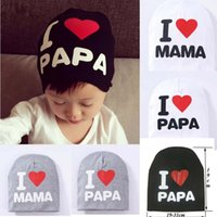 Wholesale Knitting Kids Hats Design - Bucket Hat Design Knitted Cotton Letter Hats Bonnets I Love Mama Heart For Baby Kid Spring Autumn Warm Caps