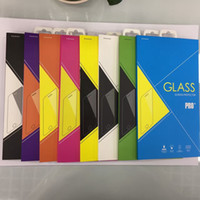 Colorful Retail Box Package Paper + Plastic Box Packing pour téléphone portable Premium Tempered Glass Screen Protector Film + Hang Hole Fashion Bag Bags