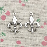 Wholesale bronze bracelet accessories - 64pcs Charms fleur de lis mm Antique Silver Bronze pendant Zinc Alloy Jewelry DIY Craft Necklace Bracelet Accessories