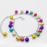 Wholesale Christmas Jingle Bell Bracelet Wholesale - Free Shipping Wholesale 6PCS Fashion Mix Color Multicolor Jingle Bells Dangle Charms Metal Anklet Bracelet, Ankle Bracelet