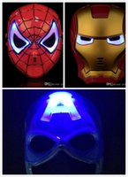 HOT Halloween cosplay máscara de la cara llena LED Spiderman Américas Marvel luz brillante máscara novedad para adultos y niños de dibujos animados luz JC181
