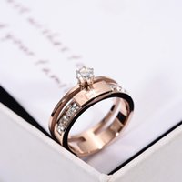 Wholesale Gold Does Fade - Korean fashion index finger ring female day and winter tide people set the rose gold ring set of artificial zircon jewelry does not fade
