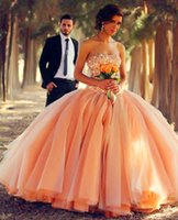 Wholesale Peach Tulle Wedding Dresses - Hot ! Free Shipping 2017 New Design Sweetheart Princess Waist Tulle Beads Pearls Ball Gown Peach A-Line Wedding Dresses Bridal Gowns