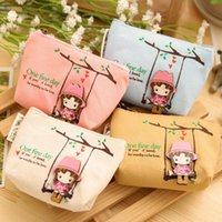 Atacado- Bolsas Canvas Cute Adorável Swing Girl Coin Bag Cartoon Lovely Wallet Pouch Card Purse Zip Key Holder Case