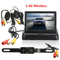 Wholesale Wireless Rearview Camera Night - New Arrival! 4.3'' Foldable LCD Monitor Wireless IR Night Vision Car Rearview Reverse Camera Kit CMO_521