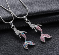 Wholesale Wedding Fairytale - Fairytale Multi Color Colorful Mermaid Pendant Necklace Girl Jewelry + Free shipping + Free Gift 342