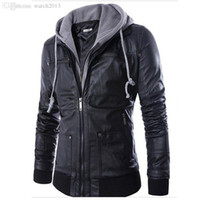 Wholesale Pu Leather Jacket Xxl - Fall-New Fashion Mens Hooded Leather Jackets And Coats PU Leather Casual Black M-XXL Men's Motorcycle Leather Jacket With Hood Q0315