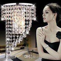 Barato Cortina De Cristal De Luxo-Modern Luxo K9 Crystal LED Wall Lights Crystal Wave Chandelier Cortina Wave LED E14 Lâmpada Lâmpadas Cristal ChandelierS Pendent Hotels Lamp