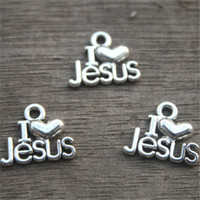 Wholesale Love Tone - 20PCS--I Love Jesus Charms, Antique Tibetan Silver Tone Christian Pendants, Christ Charms, Christianity,16x13mm