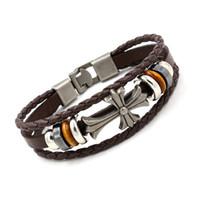 Wholesale Christian Cross Bracelets - Cross Charm Bracelets Vintage Christian Beadede Multilayer Leather Bracelets for Men Women Religious Bangle Fashion Jewelry