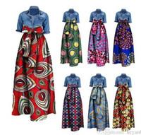Wholesale Long Cotton Skirt Fashion - Womens African Print Dashiki Dress Long Maxi A Line Skirt Printing Bust Skirt Ball Gown Maxi Skirts 20 Colour S-6XL