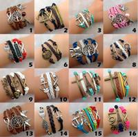 Wholesale Christmas Rope Bracelets - Infinity Bracelets Women Fashion Leather Bronze Charm Bracelet Vintage Jewelry Party Christmas Gift Bracelet Wholesale Lot