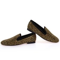 Wholesale Golden Prom Shoes - 2017 Brand Designer Man Golden Diamond Shoes New Genuine Leather Fashion Men's Flats Prom Male Loafers Size 38-47 Free Shipping