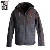 Wholesale Duck Collection - Wholesale- TIGER FORCE 2017 New Collection Cotton Jacket Men Fashion Spring Padded Coat With Hood Thin Solid Zipper Free Shipping 51087A