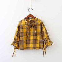 Wholesale Top Fashion Brands Korea - Everweekend Girls Plaid Tees Ruffles Bow Bell Sleeve Tops Candy Color Western Korea Fashion Spring Fall Blouse