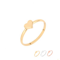Wholesale Thick 18k Gold Rings - Fashion Rings Tiny Thick Heart Finger Ring Silver Gold Rose Gold Plated Brass Jewelry for Women Girl Can Mix Color EFR074