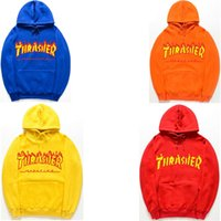 Wholesale Basics Yellow - Unisex Men Women Hip-hop Flame Fire Trasher skateboard Warm hoodie Sweatshirts Sweats Tops Pullovers Long Sleeve Sweater Basic hooded Hoody